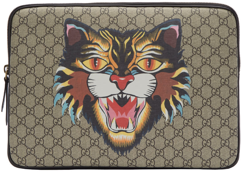 Image of Gucci Beige Gg Supreme Angry Cat Laptop Case