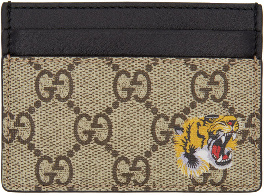 Gucci Beige Gg Supreme Tiger Card Holder