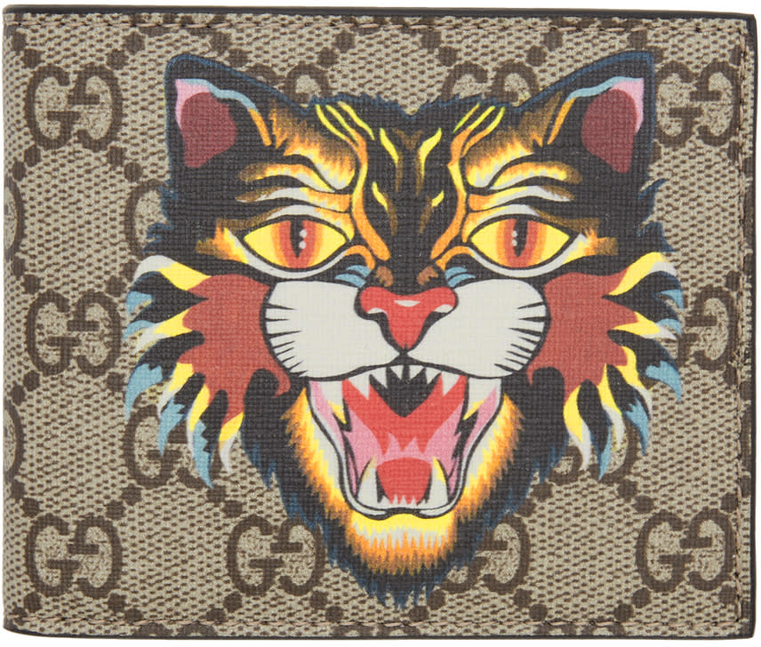 Image of Gucci Beige Angry Cat Gg Supreme Wallet