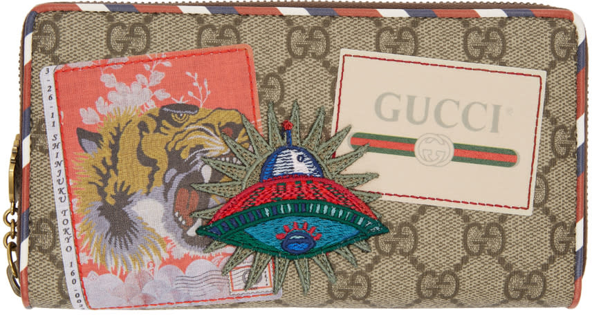 79d54aa122d212 Gucci Beige Gg Supreme Courrier Zip Around Wallet