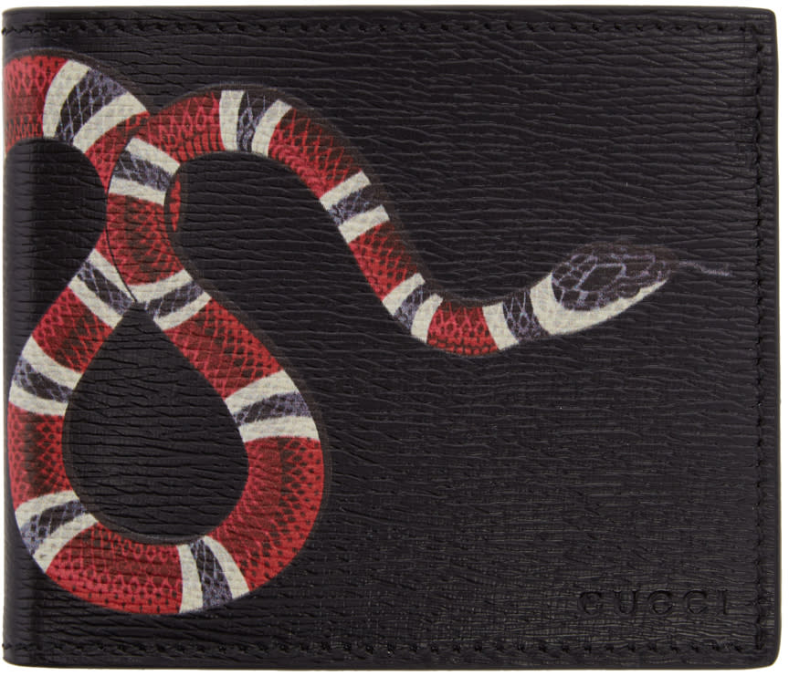 4a81404fb Gucci Black Leather Snake Wallet