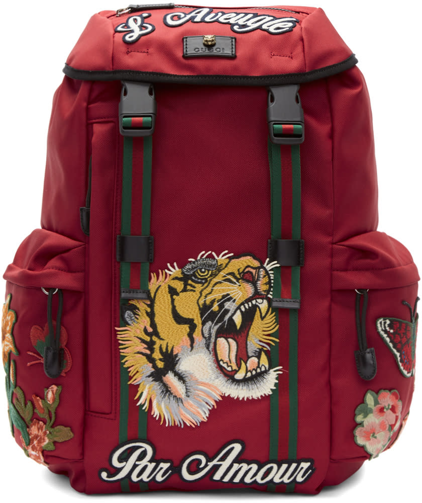 6ae5713105f2 Gucci Red laveugle Par Amour Techpack Backpack