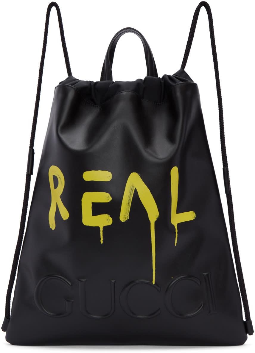 bd7903378ee8 Gucci Black Guccighost Drawstring Backpack