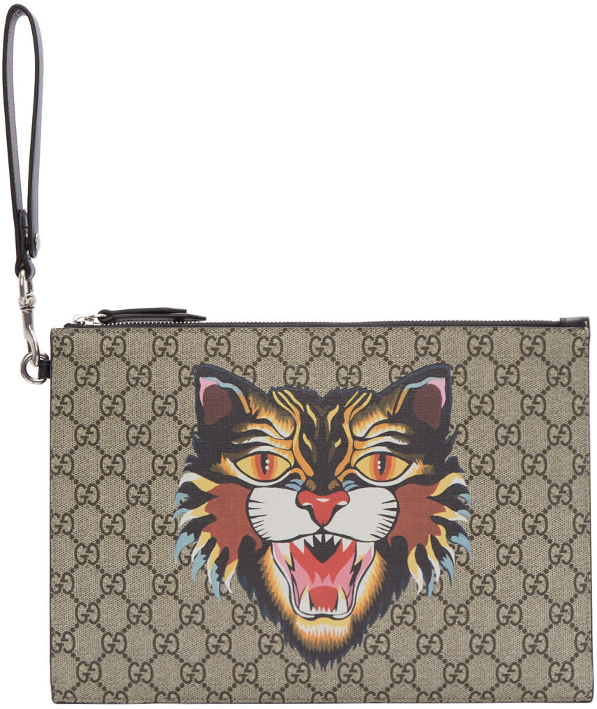 Image of Gucci Beige Gg Supreme Angry Cat Pouch