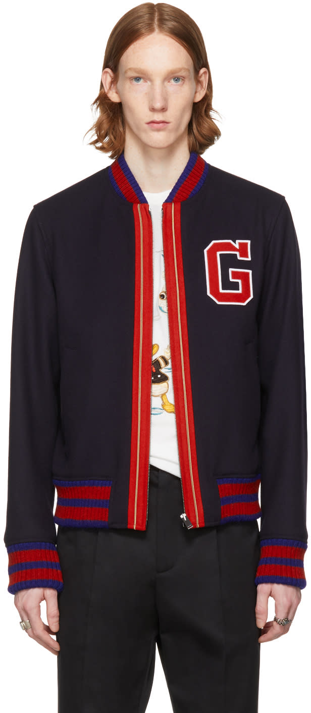 96894a889 Gucci Navy Wool Bomber Jacket