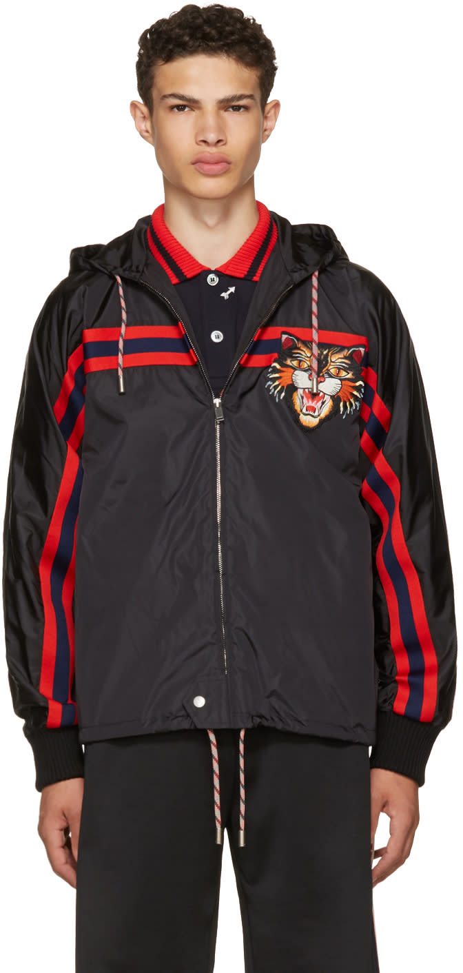 5ecd54b1fd9 Gucci Black Angry Cat Windbreaker Jacket