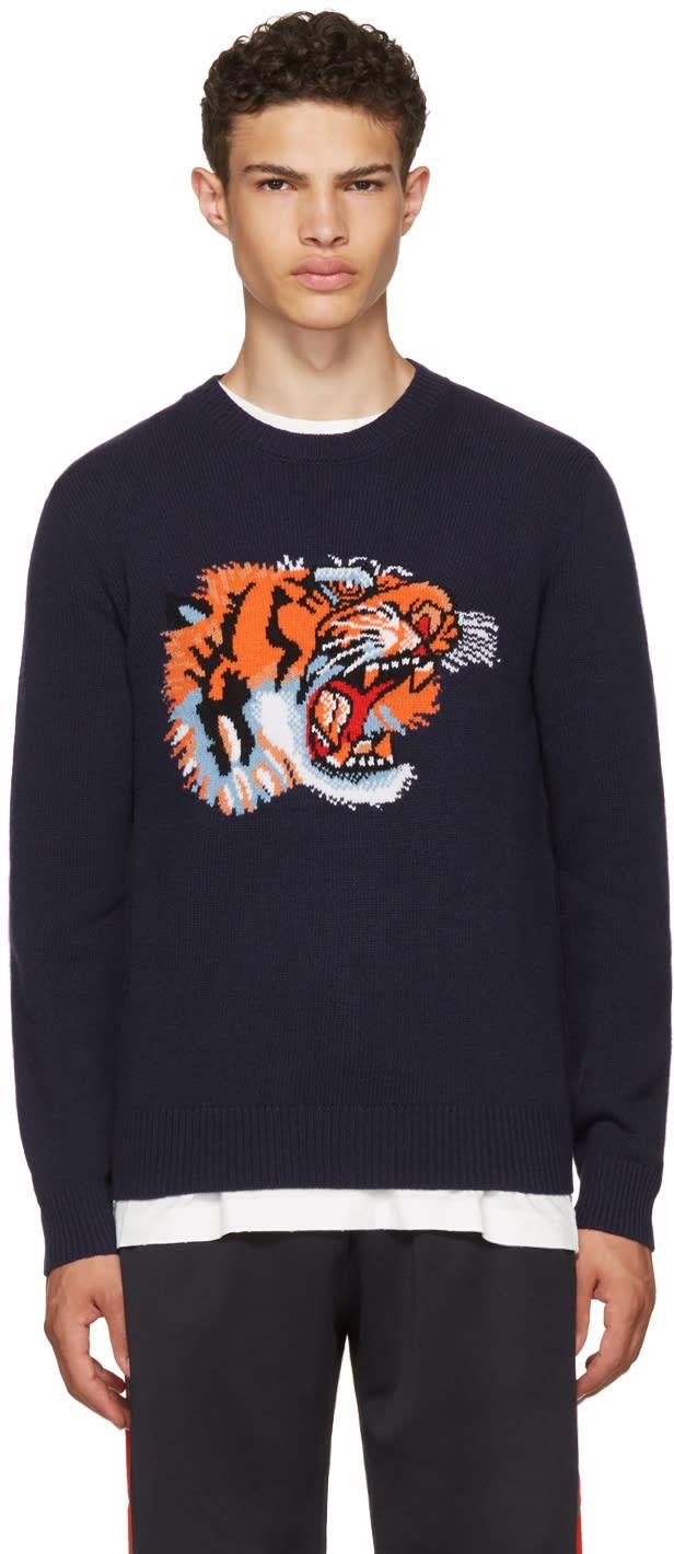 7e8174ea1 Gucci Blue Intarsia loved Tiger Sweater