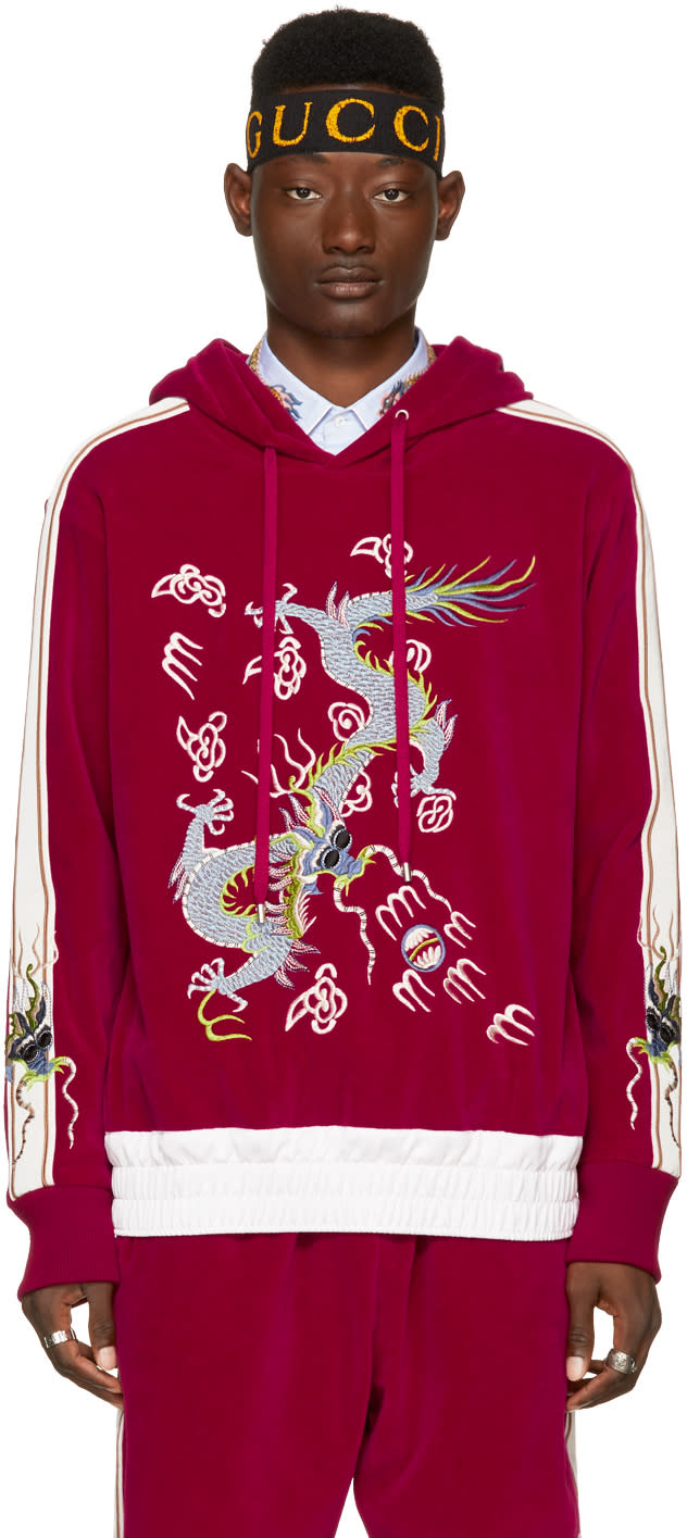 779c5a45bf8 Gucci Red Velour Embroidered Hoodie