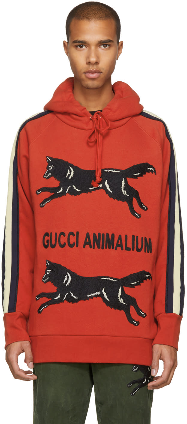 5ecd4027 Gucci Red gucci Animalium Double Wolves Hoodie
