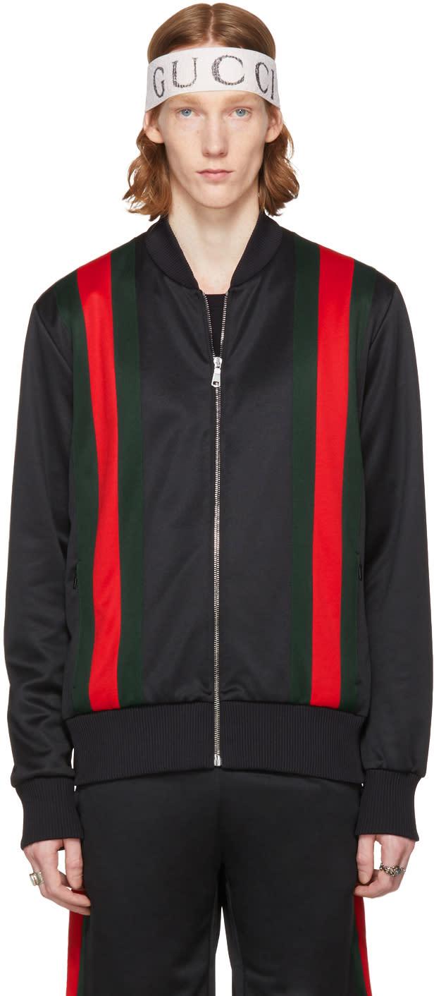 c44a540b749 Gucci Black Web Detail Zip Hoodie