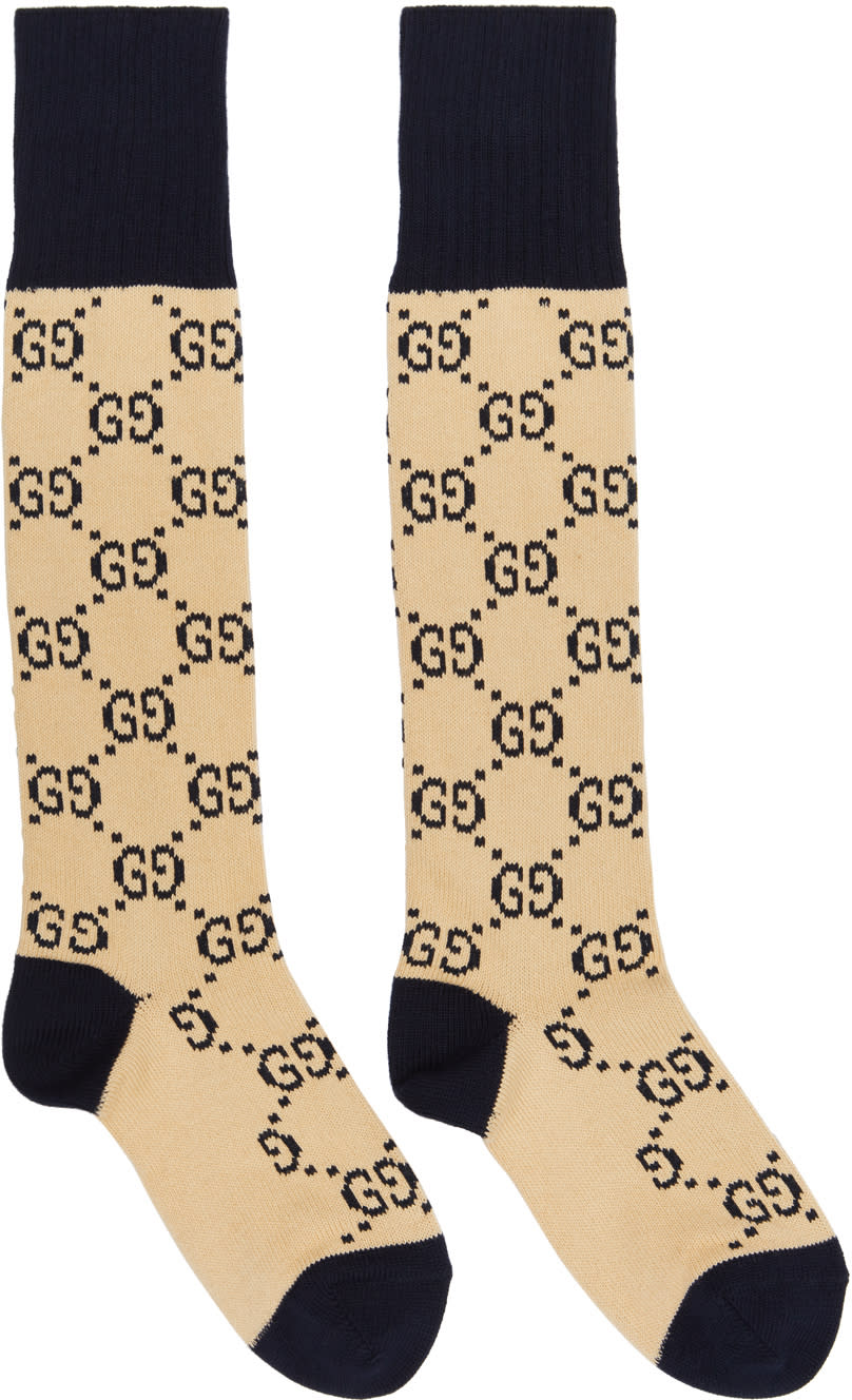 Image of Gucci Beige and Navy Gg Socks