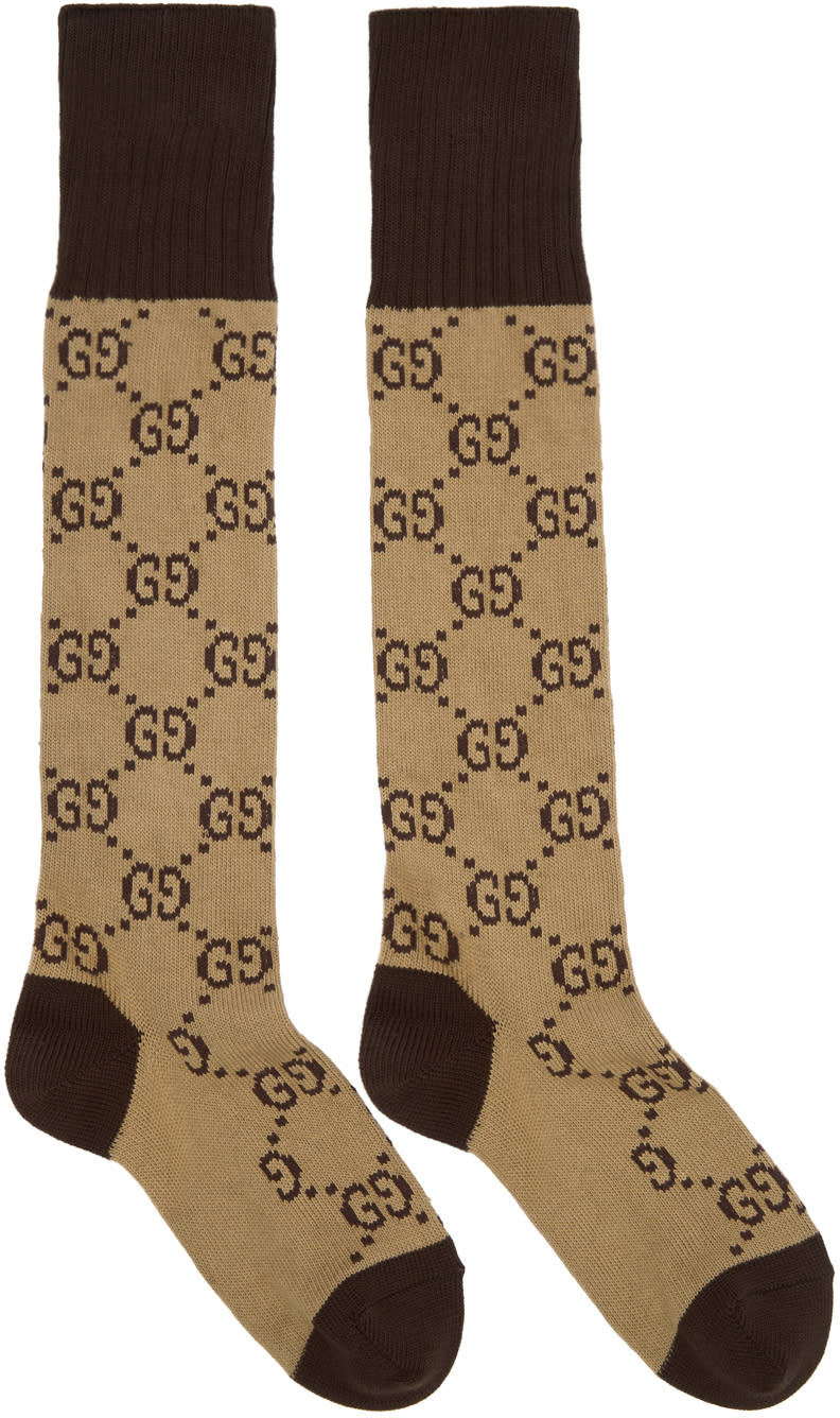 Image of Gucci Beige and Brown Long Gg Socks