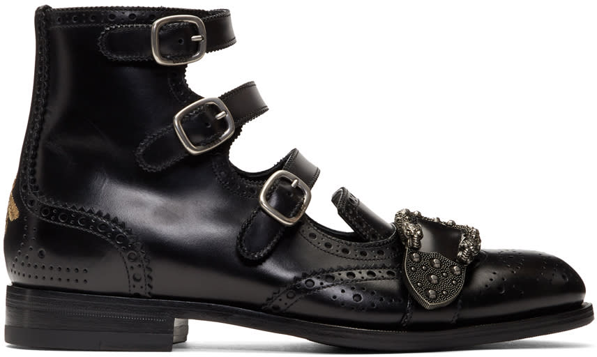 637b31f908f Gucci Black Queercore Buckle Boots