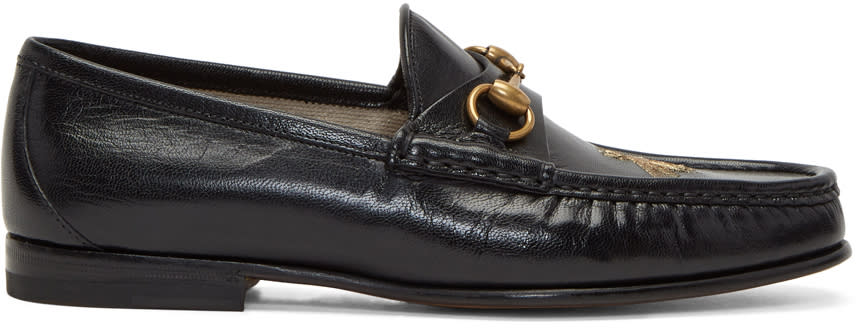 Gucci Black Bee Horsebit Loafers