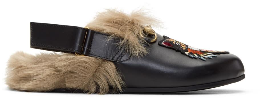 Gucci Black Fur Angry Cat Horsebit River Slippers