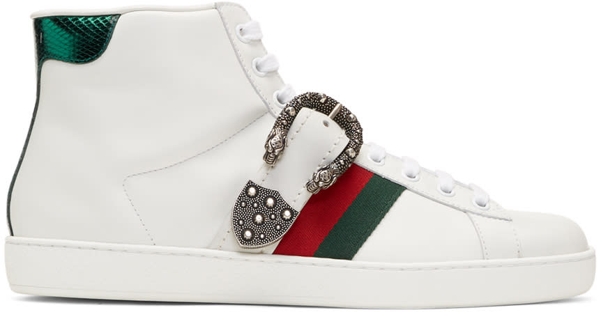 Gucci White Belt Ace High-top Sneakers