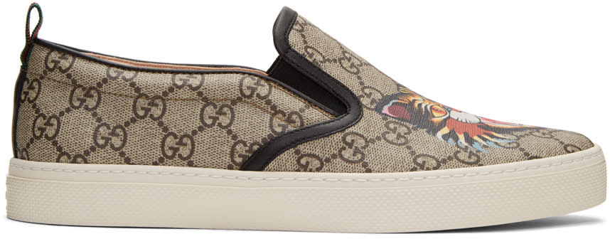 Image of Gucci Beige Gg Supreme Angry Cat Dublin Slip-on Sneakers