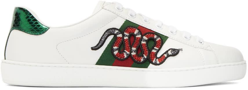 Gucci ホワイト スネーク エース スニーカー