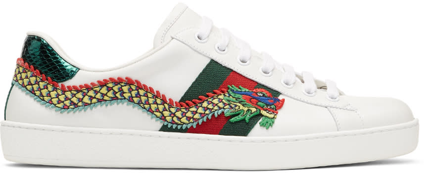 Image of Gucci White Dragon Ace Sneakers