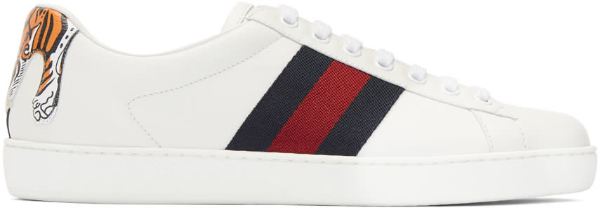 Gucci Baskets Blanches Tiger Ace