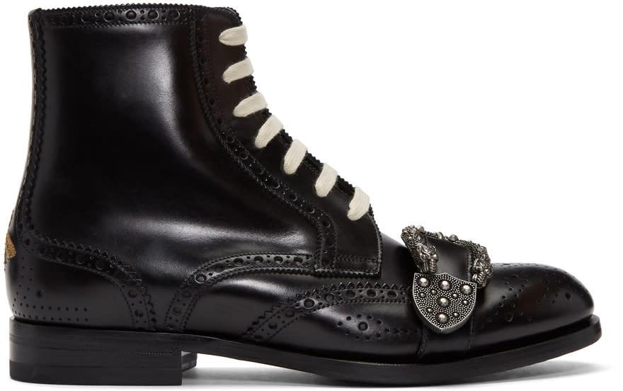 Gucci ブラック クィアコア ブローグ ブーツ