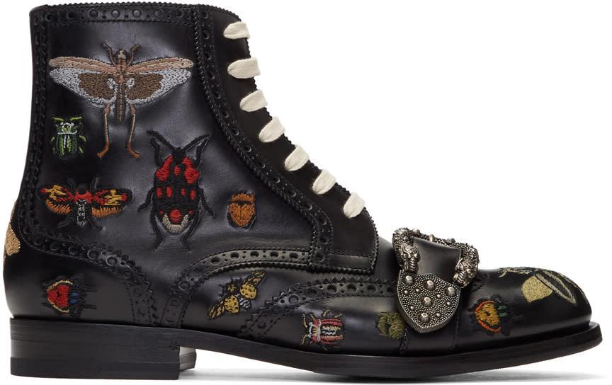 d1a794c358a Gucci Black Queercore Insect Brogue Boots