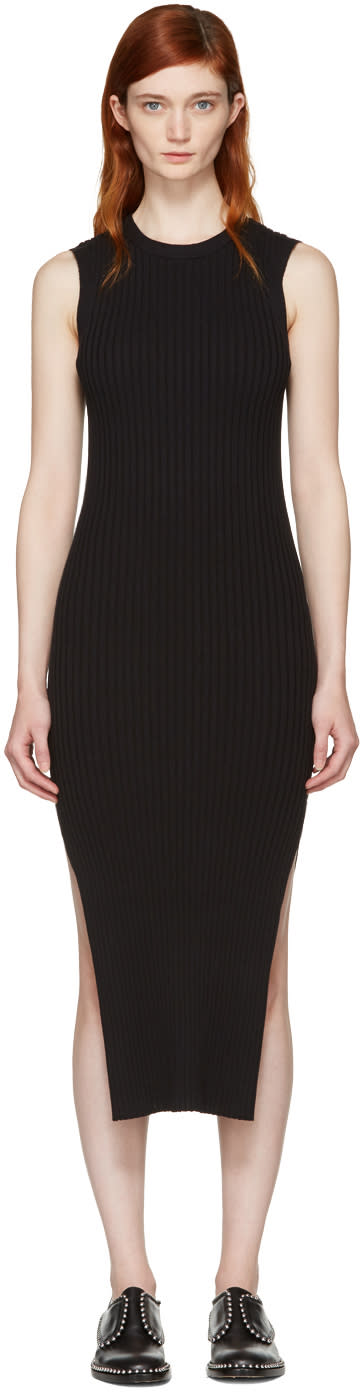 Frame Denim Black Sleeveless Rib Dress