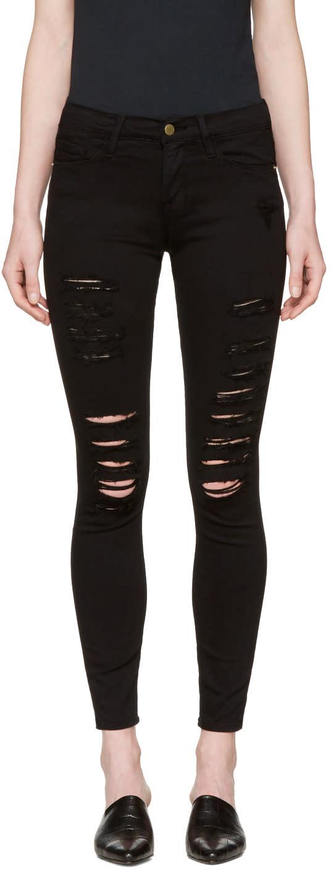 Frame Denim Black le Skinny De Jeanne Jeans