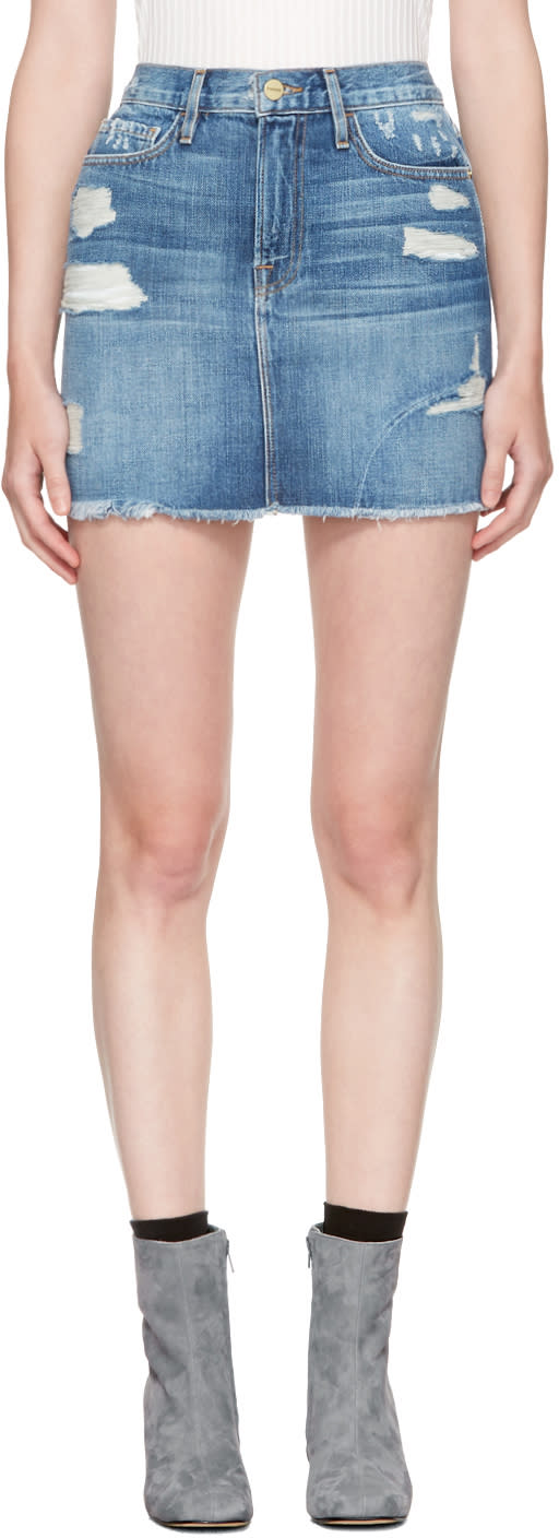 Frame Denim Blue Denim le Mini Miniskirt