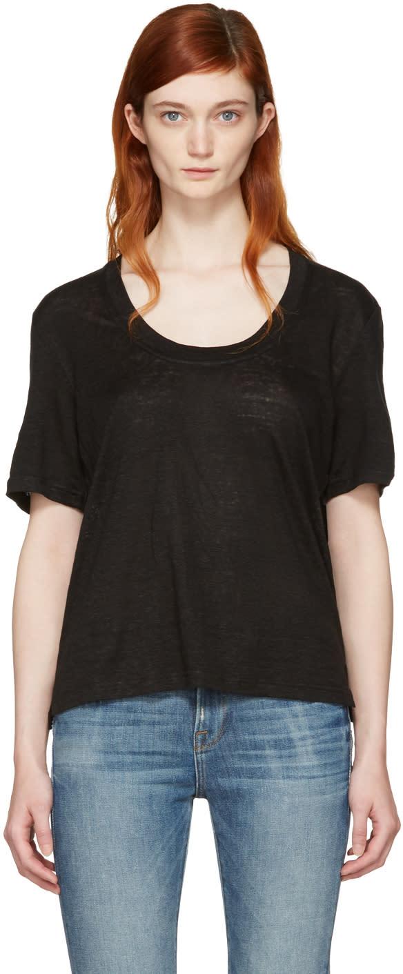 Frame Denim Black Linen U-neck T-shirt