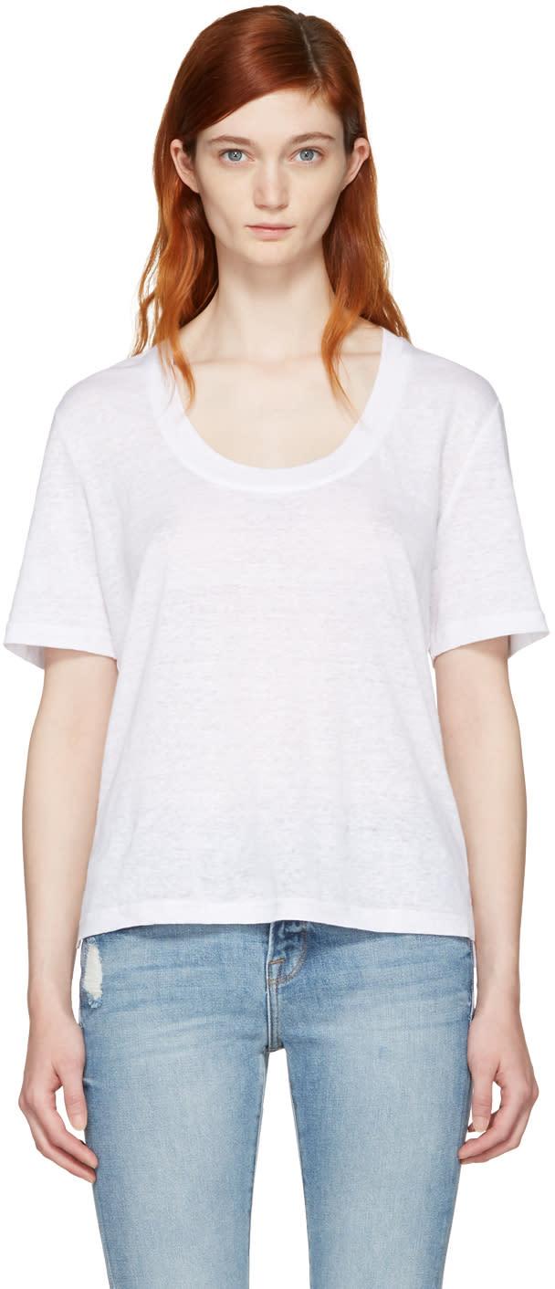 Frame Denim White Linen U-neck T-shirt