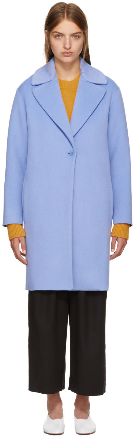 Image of Cédric Charlier Blue Wool Coat