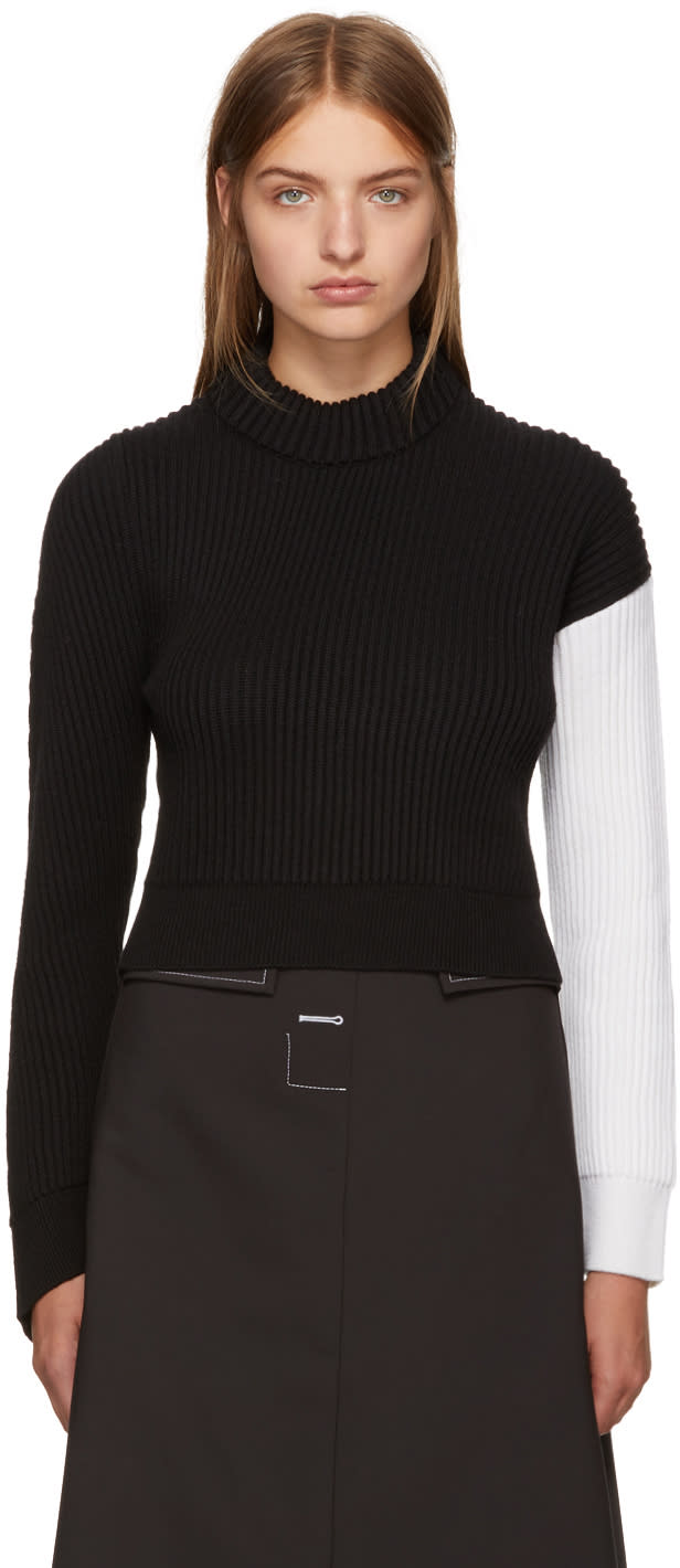 Image of Cédric Charlier Black and White Asymmetric Colorblock Sweater