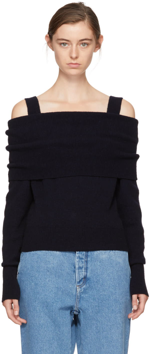 Image of Cédric Charlier Black Wool Off-the-shoulder Sweater