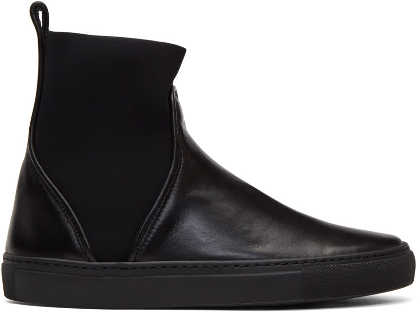 Image of Cédric Charlier Black Pull-on High-top Sneakers