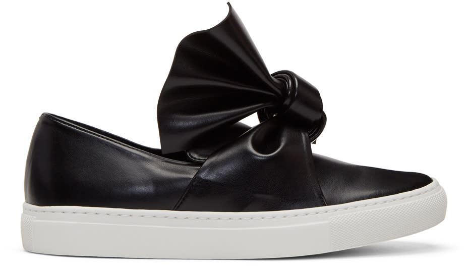Image of Cédric Charlier Black Bow Slip-on Sneakers