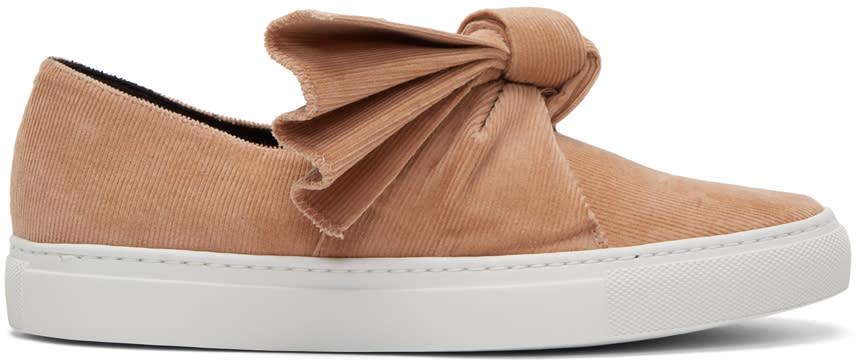 Image of Cédric Charlier Pink Corduroy Bow Slip-on Sneakers