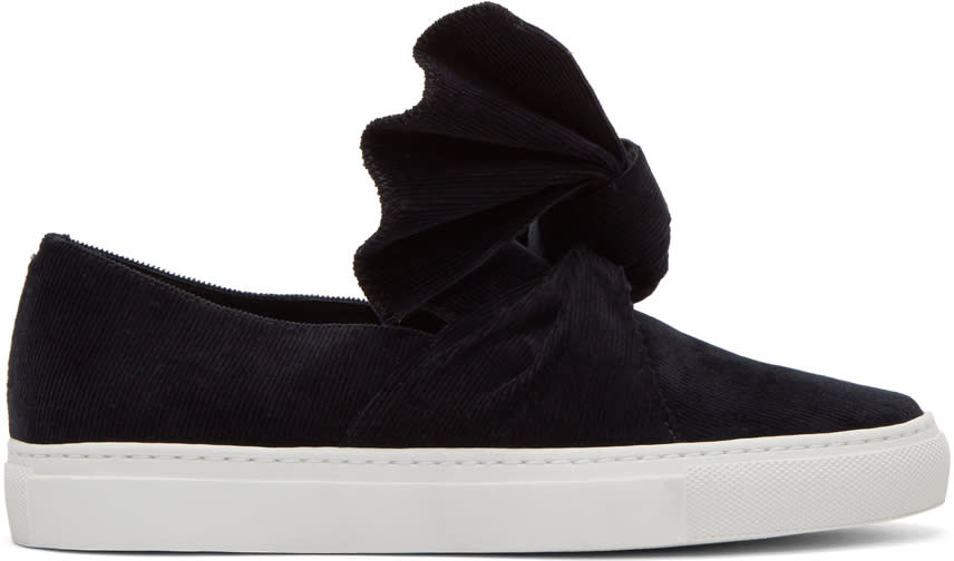 Image of Cédric Charlier Black Corduroy Bow Slip-on Sneakers