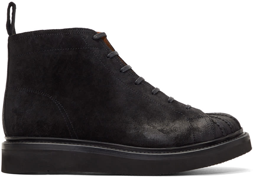 Image of Grenson Black Suede Mickey Lace-up Boots