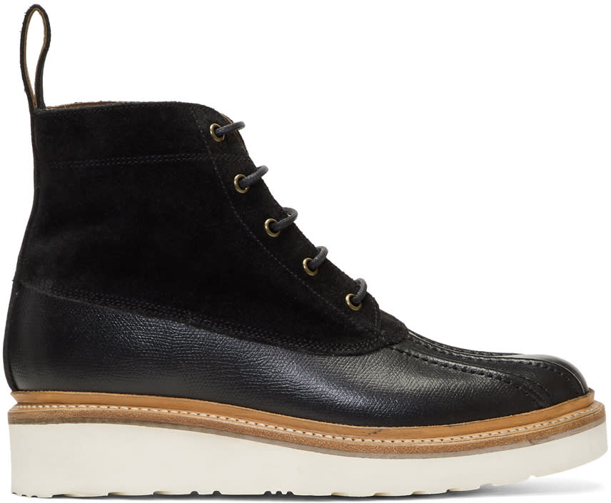 Image of Grenson Black Spike Lace-up Boots