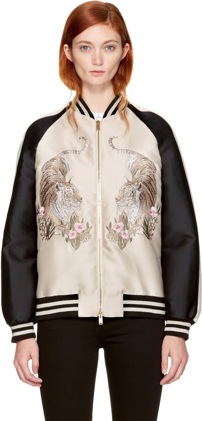 Stella Mccartney Beige Lorinda Tiger Bomber Jacket
