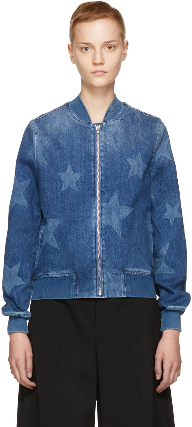 Stella Mccartney Blue Denim Star Bomber Jacket