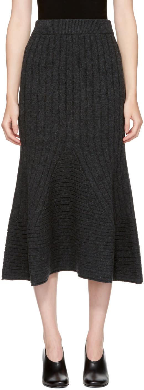 Stella Mccartney Grey Ribbed Skirt
