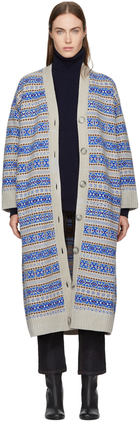 Image of Stella Mccartney Beige and Blue Striped Long V-neck Cardigan