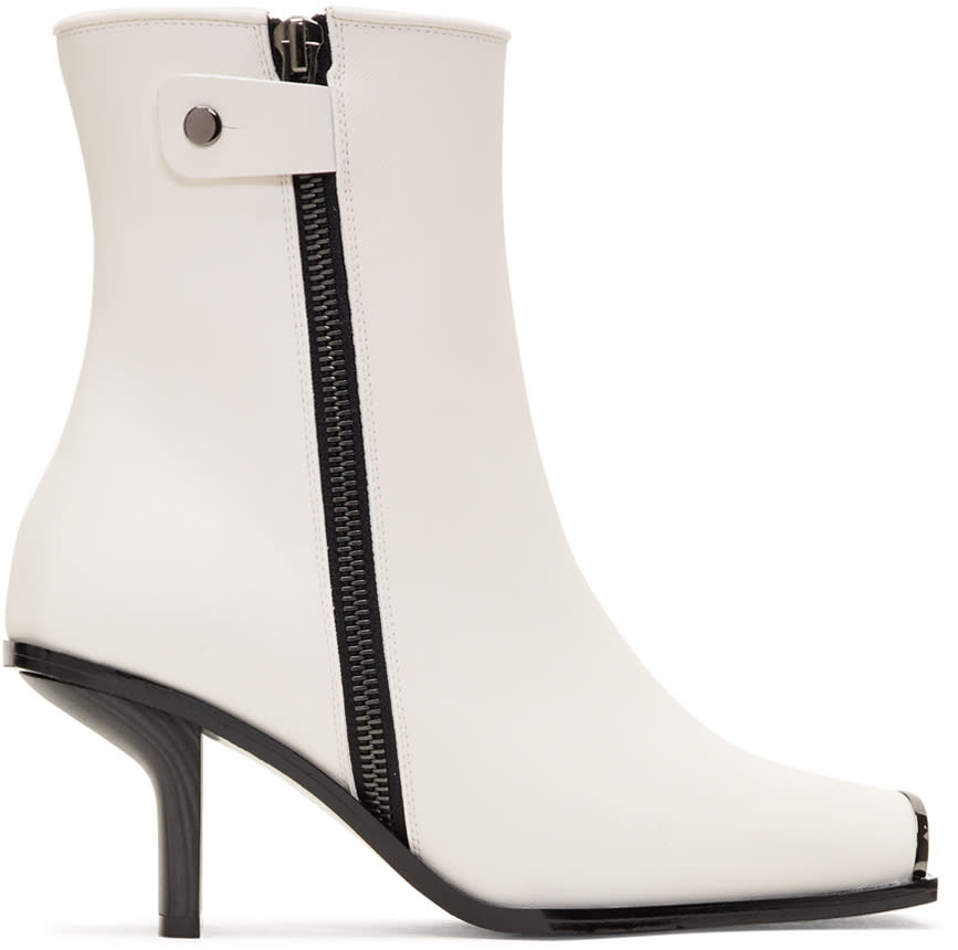 Stella Mccartney White Metallic Toe Boots