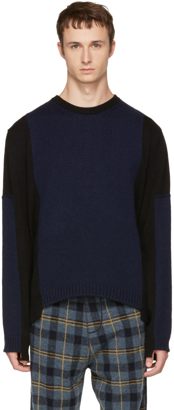 Image of Stella Mccartney Black and Navy Contrast Sweater