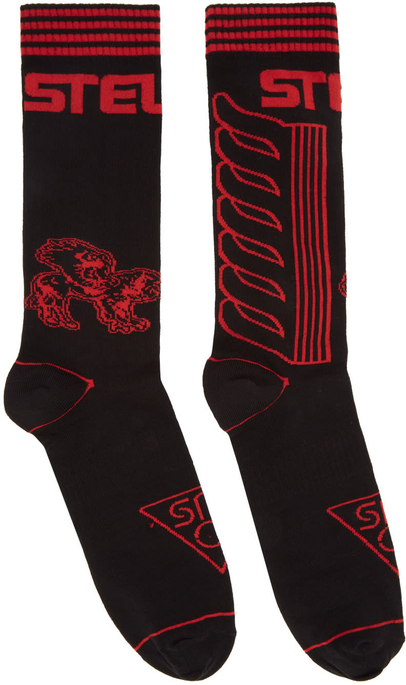 Image of Stella Mccartney Black and Red Moto Socks
