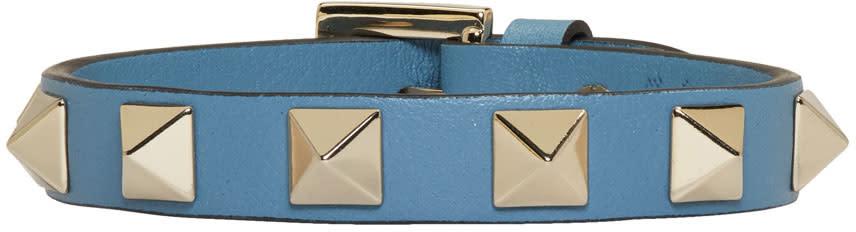 Valentino Blue Leather Single Rockstud Bracelet