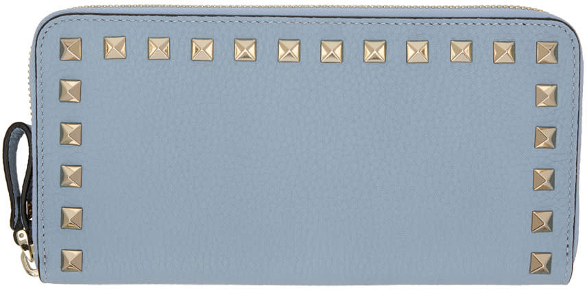 Valentino Blue Rockstud Continental Zip Wallet