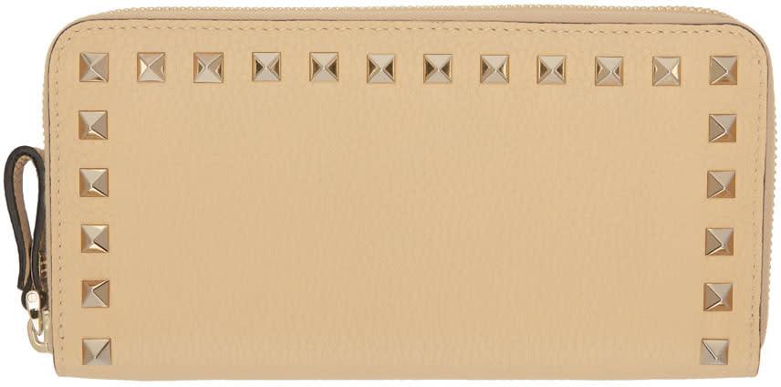 Valentino Beige Rockstud Continental Zip Wallet